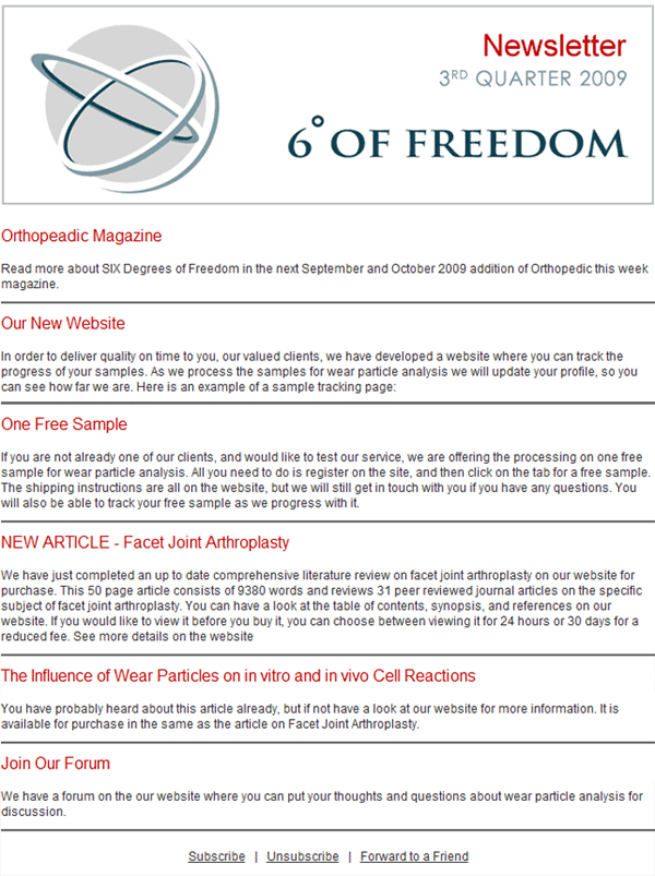 Six Degrees of Freedom - Website Design | MemeworxWebsite
